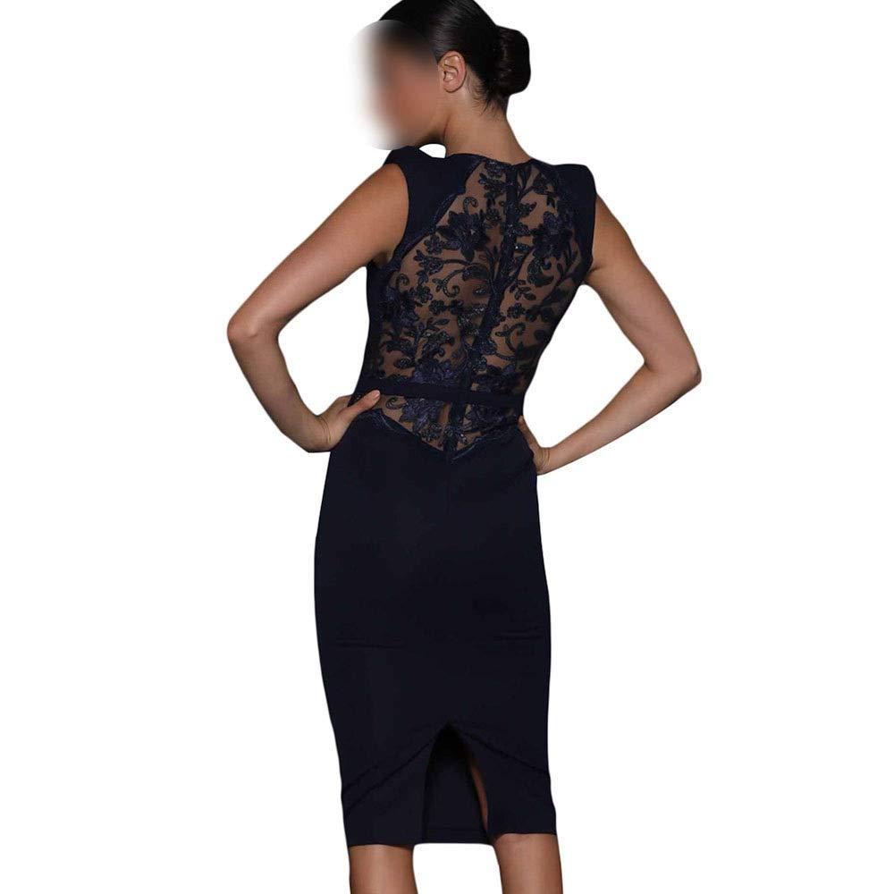 Pro-BikeUS Womens Sleeveless Round Neck Bodycon Dress Lace Hollow Backless Dress