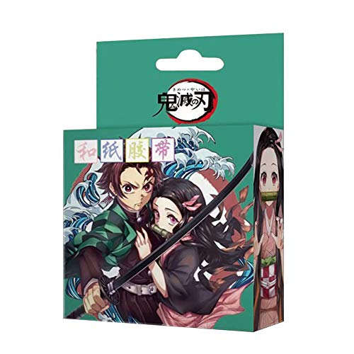 Bowinr Japanese Anime Decorative Masking Tape for Scrapbooking, DIY Crafts, Gift Wrapping, Holiday Decoration(Demon Slayer)