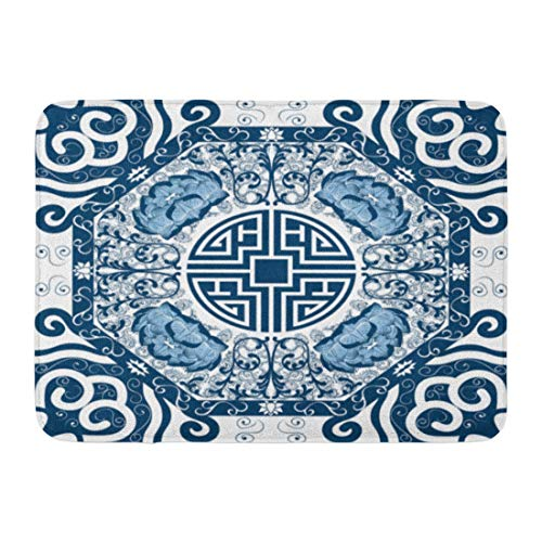 (Koperororo Doormats Bath Rugs Outdoor/Indoor Door Mat Blue Pattern Chinese Peony China Pottery Lotus Porcelain Abstract Bathroom Decor Rug 16