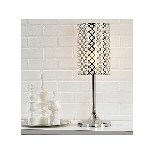 Glitz Modern Table Lamp Polished Chrome Crystal Insets Metal Shade for Living Room Family Bedroom Bedside Nightstand Office – 360 Lighting