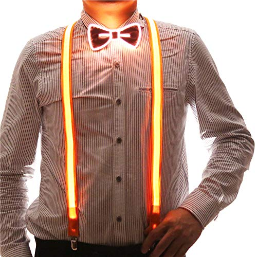 2 Pcs/Set, Good Quality Light Up Men's LED Suspenders And Bow Tie, Perfect for Music Festival Halloween Costume Party -