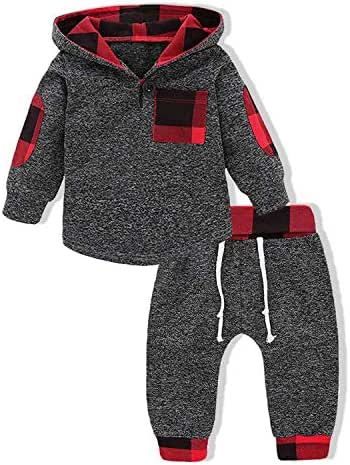Kids Infant Toddler Baby Boys Girls Hoodie Outfit Plaid Pocket Sweatshirt Jackets Shirt+Pants Brother Sister Clothes Set