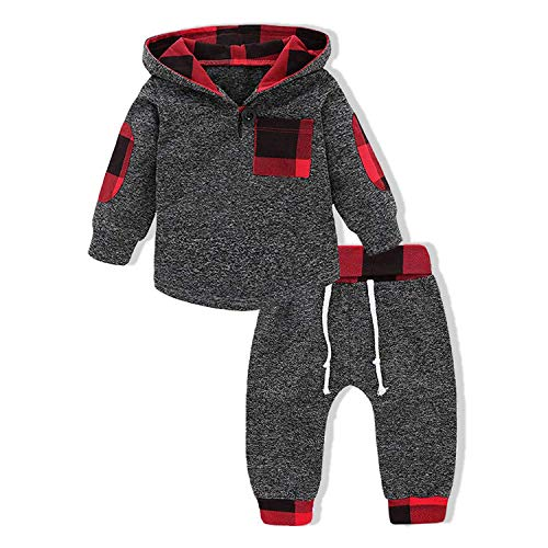 Infant Toddler Boys Girls Sweatshirt Set Winter Fall Clothes Outfit 0-3 Years Old,Baby Plaid Hooded Tops Pants (Plaid, 12-18 Months)