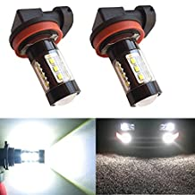 Alla Lighting 80W High Power Osram Chipsets Extremely Super Bright 6000K Xenon White H11 H8 H16 LED Bulbs for Fog Light Lamp Replacement