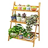Wooden Folding Flower Rack Plant Flower Display Woody Floor Multi-layer Flower Shelf Balcony Flower Pots (primary Colors)