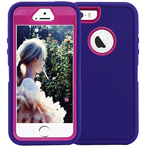 iPhone 5S Case,iPhone SE Case,Fogeek Heavy Duty PC and TPU Combo Protective Defender Body Armor Case for iPhone 5S,iPhone SE and iPhone 5 with Finger Print Function(Purple)