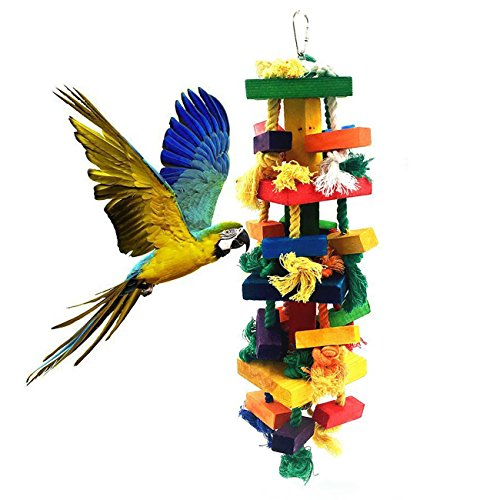 Uheng Bird Parrots Wooden Knots Blocks Chewing Toys, Cage Bite for African Grey Macaws Cockatoos Eclectus Conure Parakeets Cockatiel, Nibbling Preen for Beaks Trim, 13 X 4Inch