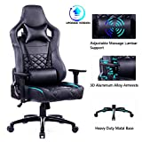 Blue Whale Big and Tall Gaming Chair with Massage Lumbar Support,Matel Base and 3D Aluminum Alloy Armrest Racing PC Computer Video Game Chair High Back PU Leather Office Desk Chair with Headrest Black