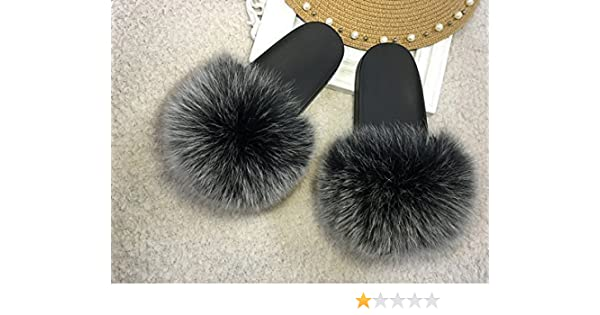 6e4f29a51822 Amazon.com  Fur Sandals Fashion Women Snow Grey Puffs Fuzzy Flip Flops Pom  Poms Winter Sandals Fluffy Frost Snow Gray  Handmade