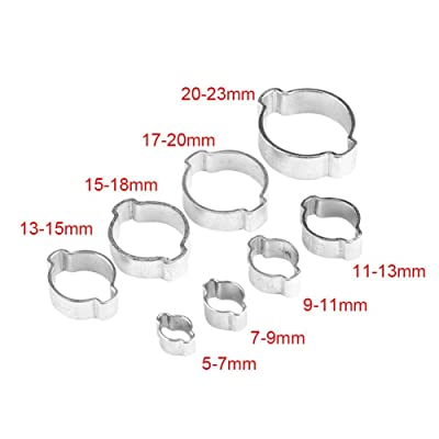 ZINC PLATED STEEL 15-18MM DOUBLE EAR CLIPS 10 PACK O CLAMP