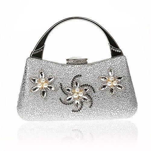 Bolso de señora del vestido de fiesta del embrague de Lady Delicate Rhinestone Evening Bag Silver