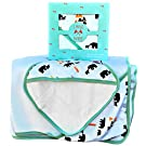 Land of the Wee, Bamboo Hooded Baby Bath Towel & Washcloth, Newborn to Toddler