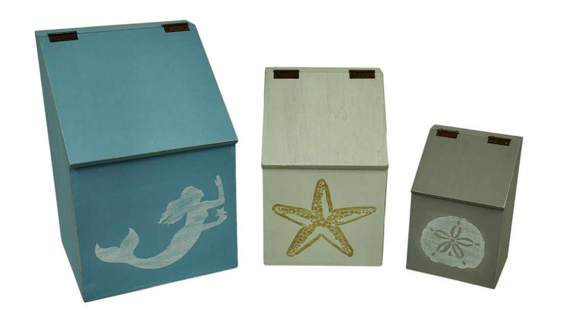 Zeckos Wood Canisters 3 Piece Wood Sea Symbols Coastal Canister Set W/Hinged Lids 11 X 16.5 X 9.75 Inches Multicolored