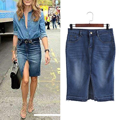 Women's Retro Summer Ripped Front Split High Waist Denim Skirt (L) (Split Shorts Denim)