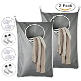 Chase Wind Large Size Oxford Hanging Laundry Bag, Over The Door-Hanging Laundry Hamper With Stainless Steel Hooks (2-Pack Grey)