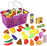 #10: Click N' Play 33 Pc. Kids Pretend Play Grocery Shopping Play Toy Food Set, Fruit and Vegetable with Shopping Basket
