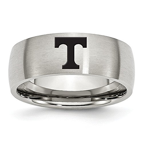 (Jewel Tie Size 10.5 - Stainless Steel University of Tennessee Laser Etch Ring (8mm))