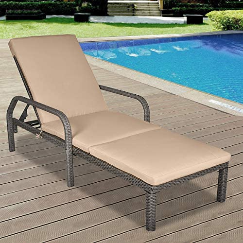 MAGIC UNION Patio Chaise Lounge Chair Outdoor Rattan Wicker Chair Adjustable Back for Garden Beach Pool Backyard Reclining Chair with Cushion and Armrest