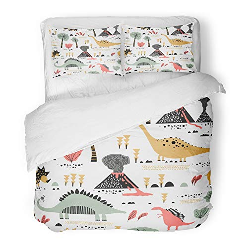 Emvency Decor Duvet Cover Set Full/Queen Size Childish Funny Dinosaurs in Cartoon Ideal Party Kindergarten Baby Preschool 3 Piece Brushed Microfiber Fabric Print Bedding Set Cover -