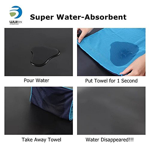 """Sports Towel for Instant Cooling Relief Wuji Microfiber Towels for Golf Workout Swimming Gym Yoga Travel Camping Fitness 40""""x12"""" Sweat Towel"""