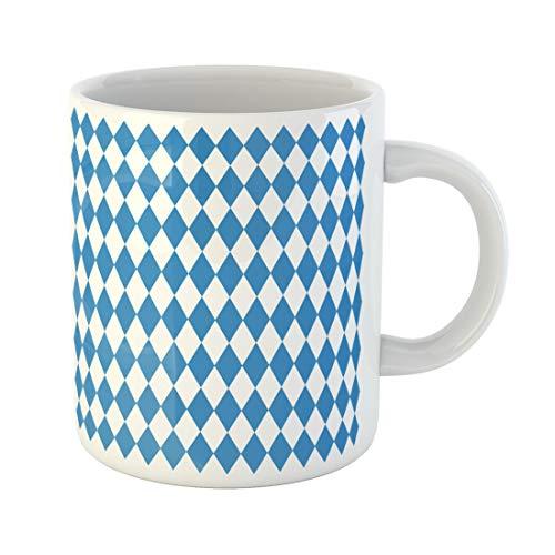 Semtomn Funny Coffee Mug Blue German Oktoberfest Checkered and Bavarian Flag Pattern Diamond 11 Oz Ceramic Coffee Mugs Tea Cup Best Gift Or Souvenir