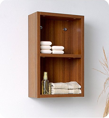 Fresca Bath FST8092TK Bathroom Linen Side Cabinet with 2 Open Storage Area, Teak