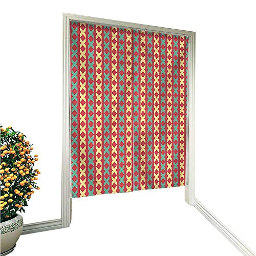 e Noren Door CurtainCross Sign Motifs Stripes on Red Background Vertical Tile Pattern Red Seafoam Light Tapestry Cotton Linen Curtain Blind 33.5