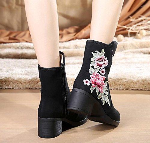 KHSKX-Zapatos Botas En Botas De Tacón Alto Botas De Terciopelo Bordado Bordado De Estilo Popular De Algodon Negro Botas De Invierno black