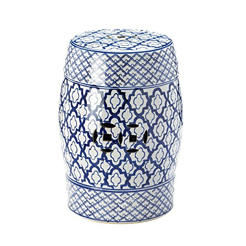 KOEHLER 10017922 Accent Plus Blue and White Ceramic Decorative Stool (Decorative Garden Stool)