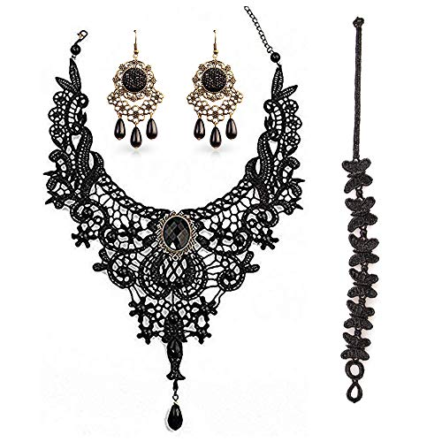 BagTu Black Lace Necklace and Earrings Set, Gothic Lolita Black Pendant Choker for a Halloween Costume and Wedding (Black)