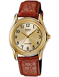 Men's MTP1096Q-9B1 Brown Leather Quartz Watch with Gold Dial
