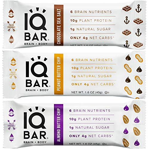 IQ BAR Brain + Body Bar, Chocolate Lovers Variety Pack, 10g Plant Protein, 1g Sugar, 4g Net Carbs, Keto, Paleo Friendly, Vegan, Gluten Free, Low Carb, 1.6oz Bar, 12 Count