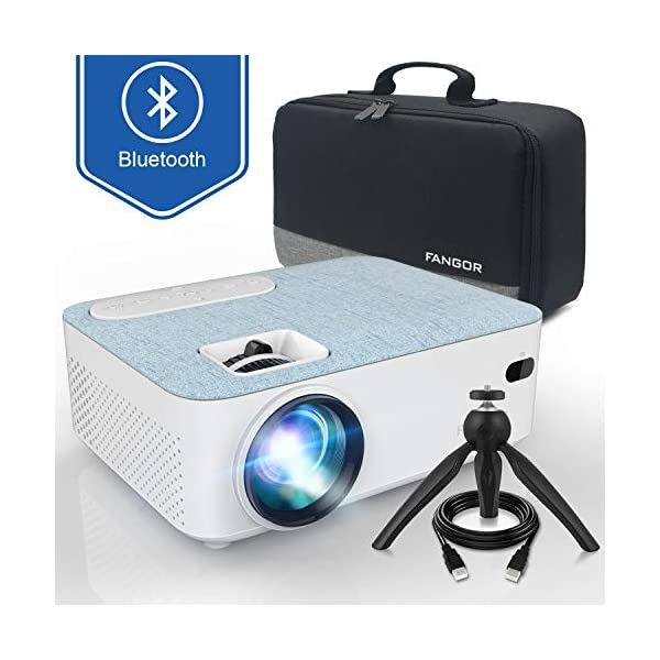 "Fangor Bluetooth Projector, 1080P and 170"" Display Supported, 3600L Portable Movie Projector Mini Projector Compatible with Smartphone, TV Stick, Roku, PS4, Xbox, HDMI, VGA, TF, AV and USB"