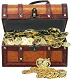 Faux Leather Pirate Treasure Chest with 144 Coins