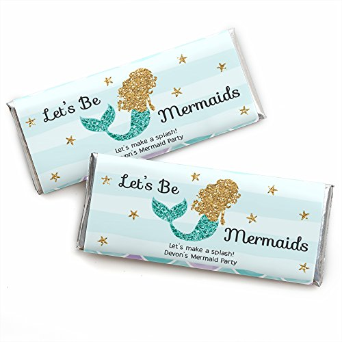 Personalized Let's Be Mermaids - Custom Baby Shower or Birthday Party Favors Candy Bar Wrapper - Set of 24]()