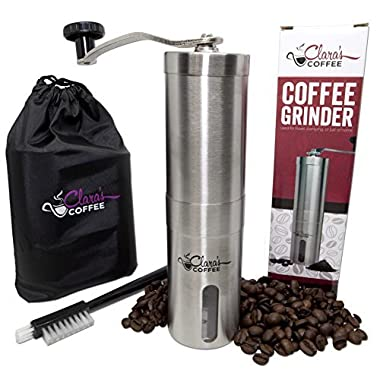 Premium MANUAL COFFEE GRINDER -Stainless Steel Body & Adjustable Ceramic Conical Burr. Hand Crank Mill Grinds Beans & Spices! Perfect for Espresso, Aeropress & Turkish Blends. Mini CAMPING TRAVEL SIZE