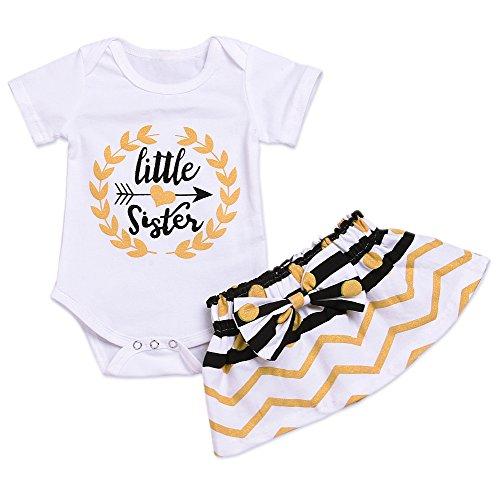 (Younger star Baby Girl Little Sister Bodysuit Tops Bowknot Striped Skirts Dress Set (White, 0-6 Months))