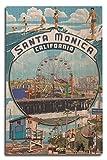 Lantern Press Santa Monica, California - Montage Scenes (10x15 Wood Wall Sign, Wall Decor Ready to Hang)
