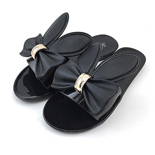 Rcool Frauen Sommer Strand Schuhe Damen Hausschuhe Flat Heels Flip Flops Sandalen Schwarz