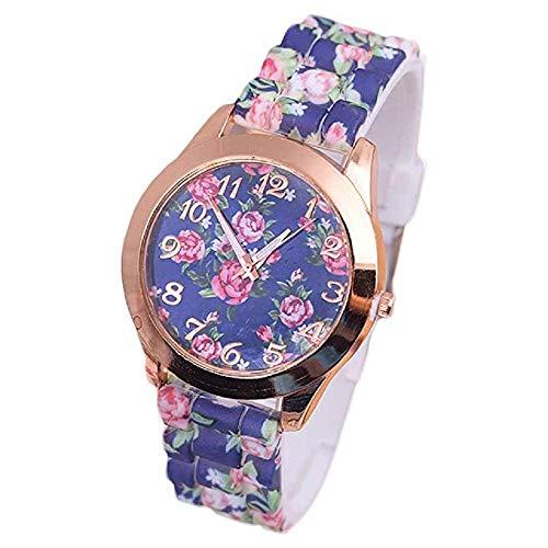 FAVOT 2019 Geneva Print Silicone Watch Flower Digital Dial Gold Round Case Lady Watch (Blue) ()