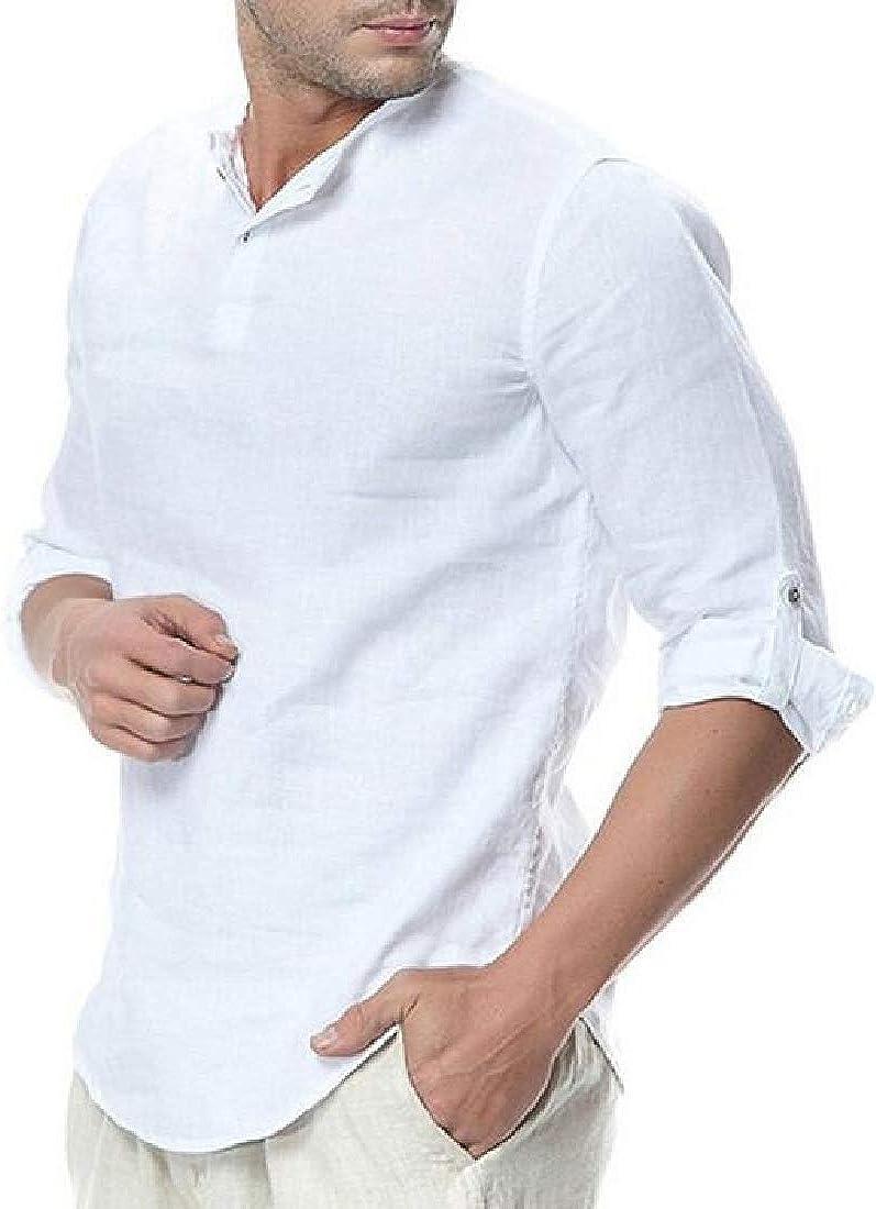 Rrive Mens Casual Cotton Linen Solid Color Regular Fit Long Sleeve Button Down Dress Shirt