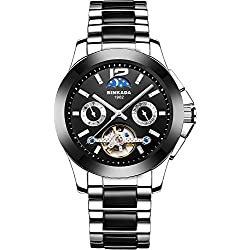 BINKADA Novelty Automatic Mechanical Moon Phase Black Dial His Men's Watch #7003B01-1