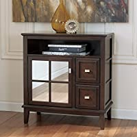 Larimer Collection T654-40 34 Console Table with 2 Doors Mirrored Panel on Open Top Compartment and Interior Shelves in Dark Brown