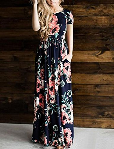 Women's Dress with Maxi Print Short Floral DANALA Sleeve Blue Pockets Long Navy Dress HSnCdqfw