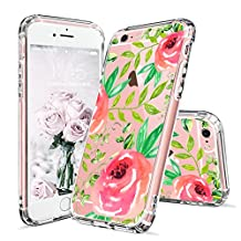 iPhone 6 Case, iPhone 6s Clear Case, MOSNOVO Red Roses Floral Flower Printed Clear Design Transparent Plastic Hard Back Case with Soft TPU Bumper Gel Protective Case Cover for iPhone 6 6s (4.7 Inch)