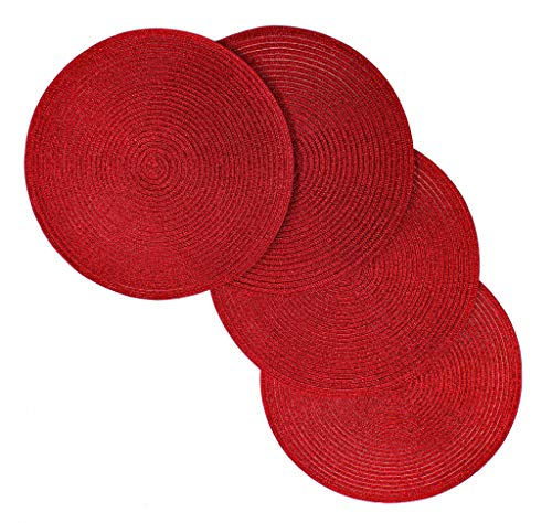 V Christmas Carol Woven Spiral Table Placemats 15 Inches Round Set of 4 Non-Slip Dining & Kitchen Table Mats Red