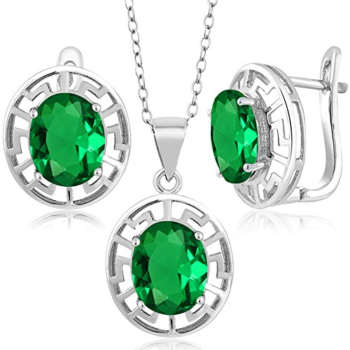 6.60 Ct Green Simulated Emerald 925 Silver Pendant Earrings Set With Chain