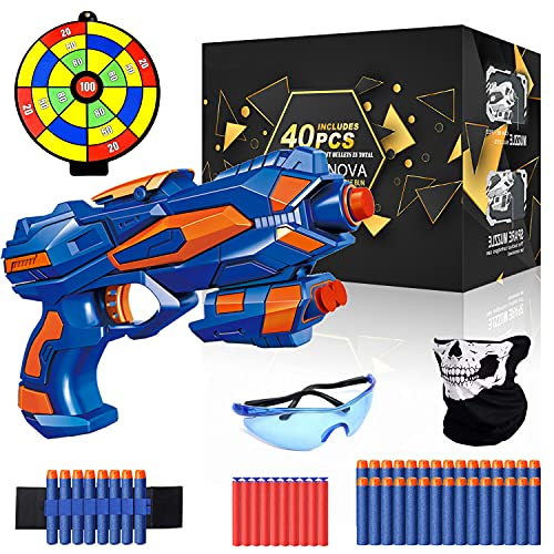 Charlemain Nerf Blaster, Toy Gun with Shooting Target, 40 Soft Foam Refill Darts, Wrist Band, Safety Goggle and Face Mask, Kids Toy Pistol, Best Xmas Birthday Gifts for Boys Girls 5-13 Year