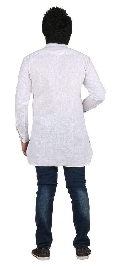 Royal Kurta Men's Fine Cotton Short Pathani Kurta For Denim's 42 White by Royal (Image #3)