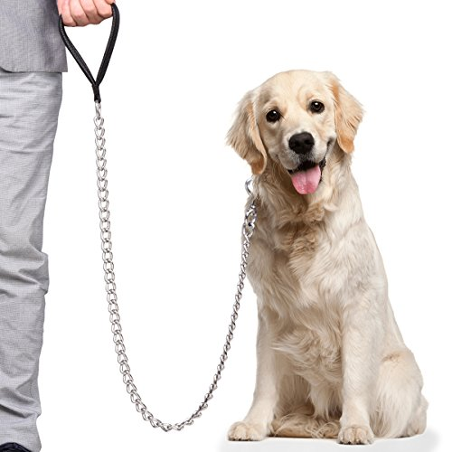 CtopoGo Premium Chain Heavy Duty Dog Leash - Soft Padded Leather Handle Lead - Perfect Basic Leashes Specifically Designed for Over 30KG Large Size Pets Walking (5.0mm - (Long:120cm))
